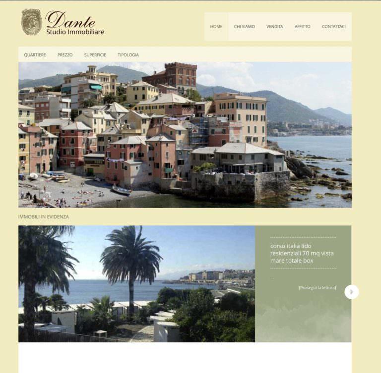 dante studio immobiliare, realizzazione sito internet e servizio fotografico, fotografo webdesigner a genova