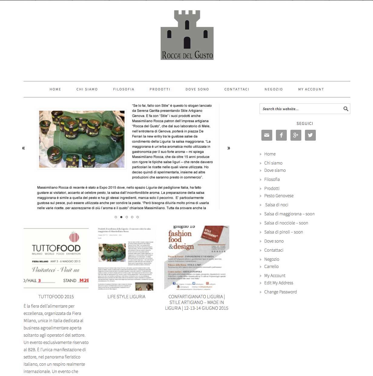 Rocca del gusto – Rocca Food Sito internet