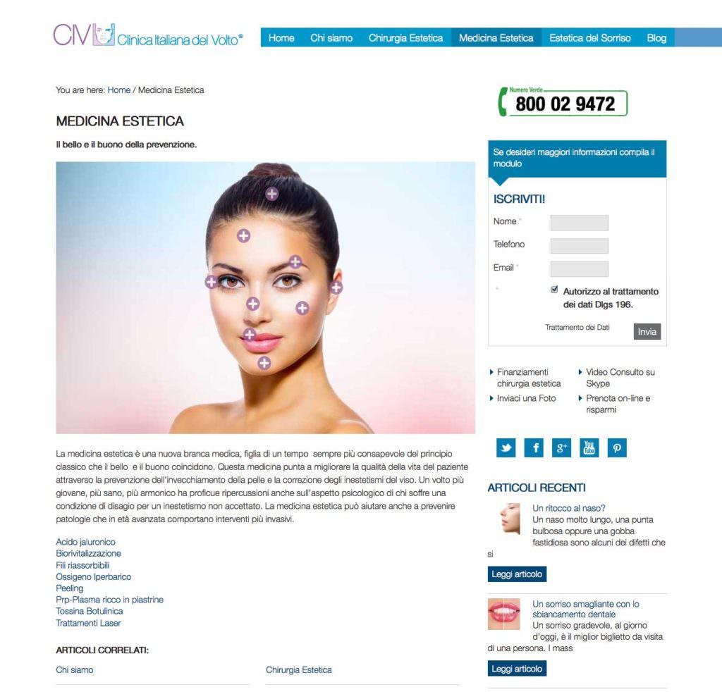 Clinica Italiana del Volto, sito internet, portale internet, sito chirurgia estetica, medicina