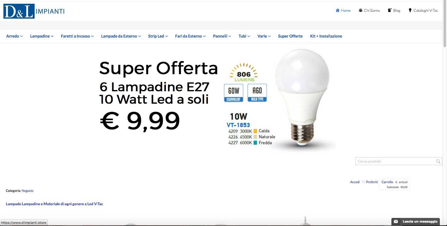 DL Impianti Store - Web design - ecommerce