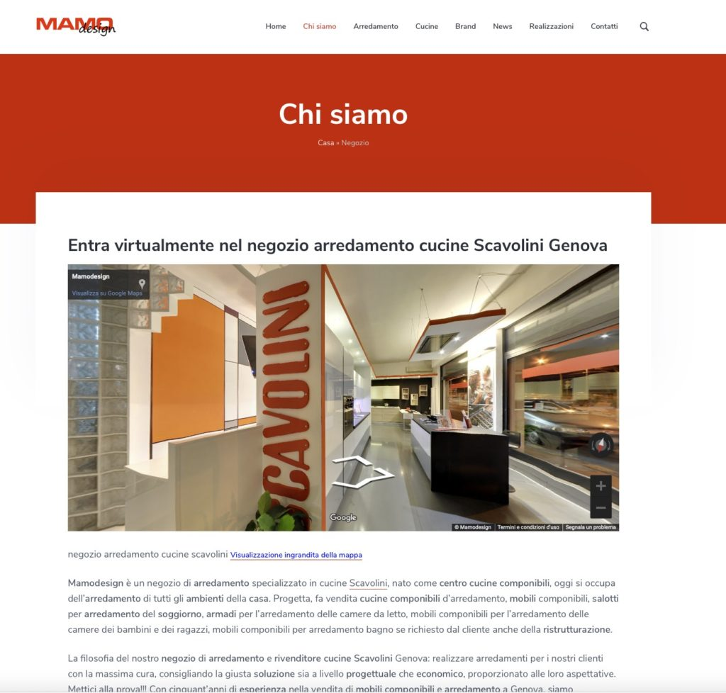 Sito web, MAMODESIGN, rivenditore cucine componibili Scavolini e arredamento d'interni 2
