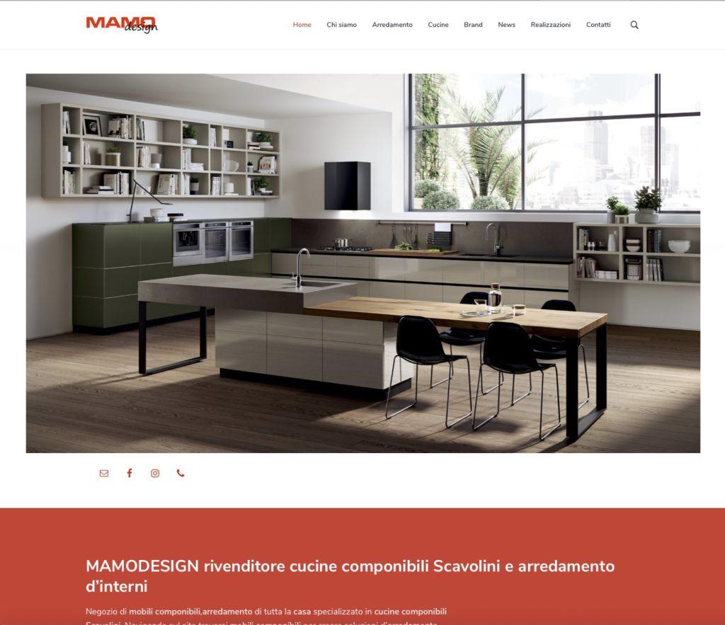 Sito web, MAMODESIGN, rivenditore cucine componibili Scavolini e arredamento d'interni