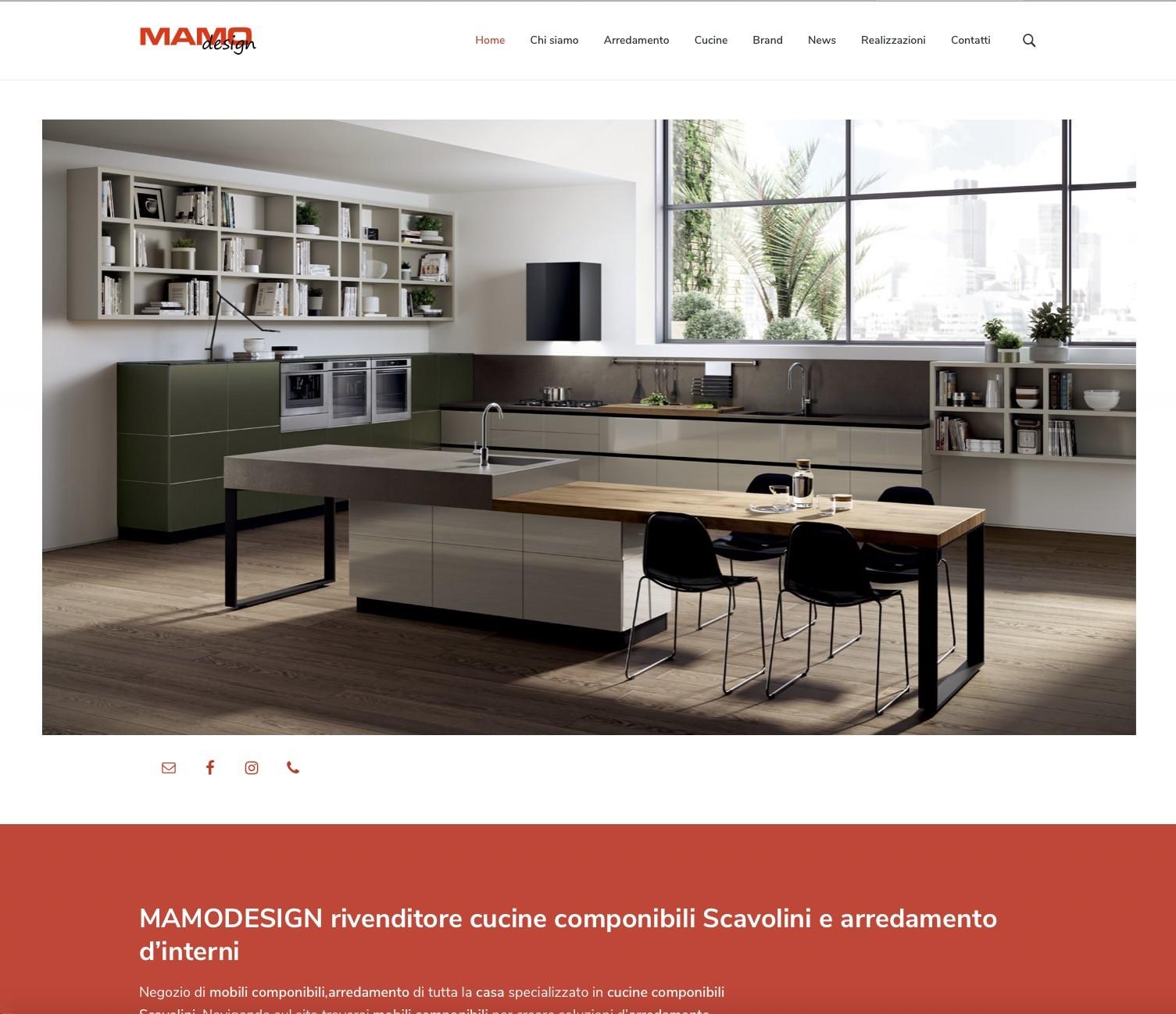 Sito web, MAMODESIGN, rivenditore cucine componibili Scavolini e arredamento d'interni 1