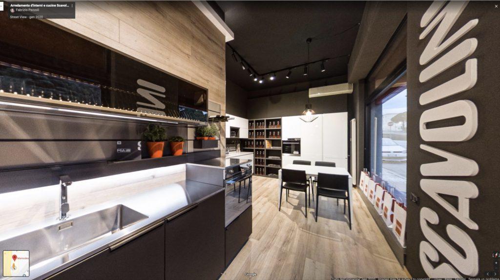 MamoDesign Rivenditore cucine Scavolini Arredamento di interni con Google Street view e facebook 360°