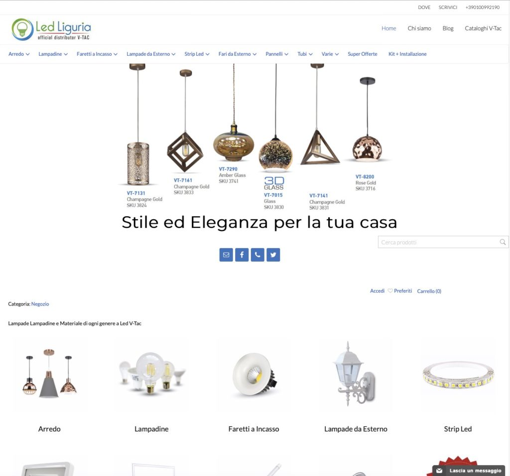 Nuovo Sito e-commerce Led Liguria