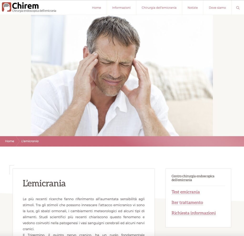 Re-Design sito internet Chirem Chirurgia dell'emicrania 2